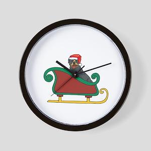 Santas Sleigh Rottweiler Wall Clock