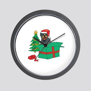 Rottweiler For Christmas Wall Clock