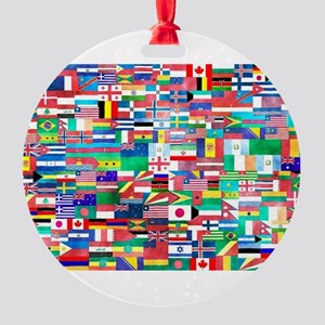 World Flag Collage Round Ornament