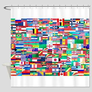 World Flag Collage Shower Curtain
