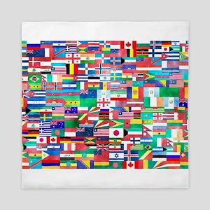 World Flag Collage Queen Duvet