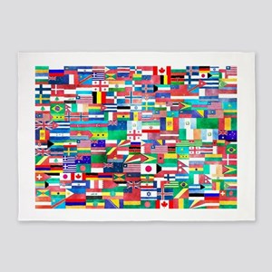 World Flag Collage 5'x7'Area Rug