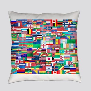 World Flag Collage Everyday Pillow