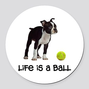 Boston Terrier Life Round Car Magnet