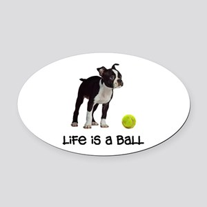Boston Terrier Life Oval Car Magnet