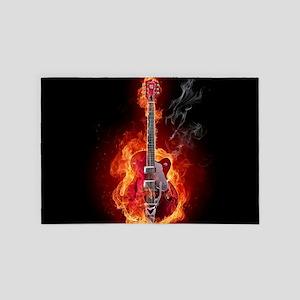 Flaming Guitar 4' x 6' Rug