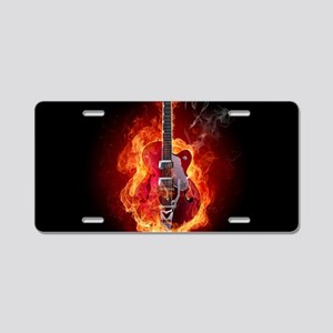Flaming Guitar Aluminum License Plate