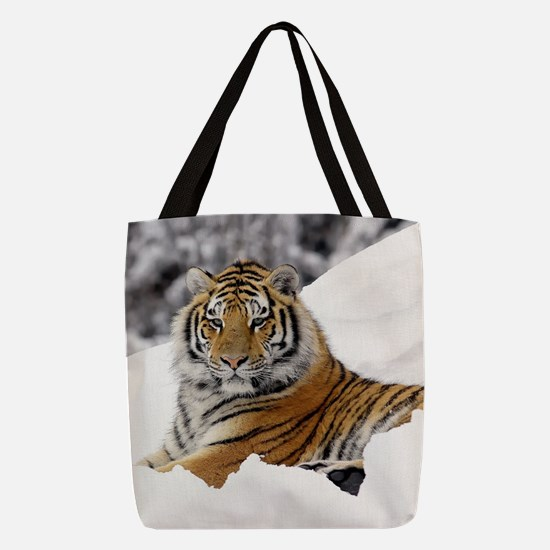Tiger In Snow Polyester Tote Bag