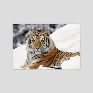 Tiger In Snow 4' x 6' Rug