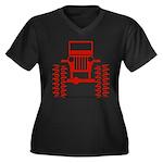 red big wheel Women's Plus Size V-Neck Dark T-Shir