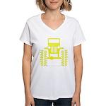 Yellow big wheel Women's V-Neck T-Shirt
