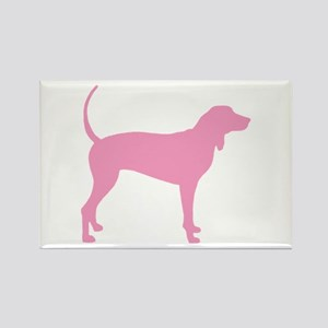 Pink Coonhound Rectangle Magnet