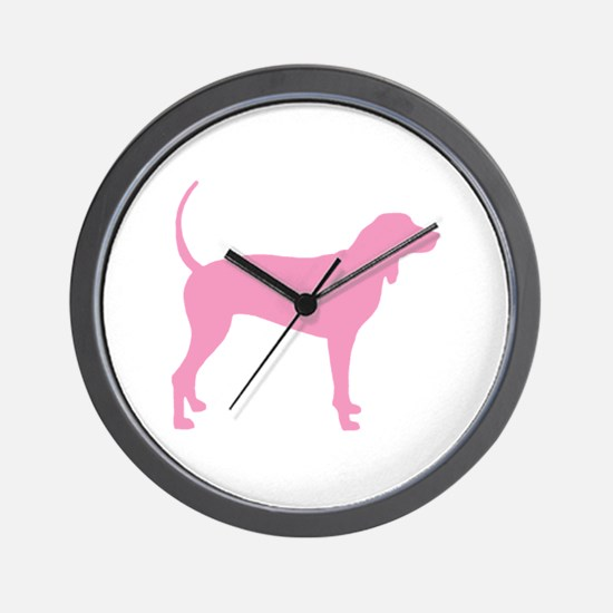 Pink Coonhound Wall Clock