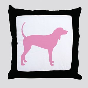 Pink Coonhound Throw Pillow