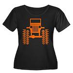 orange big wheel Women's Plus Size Scoop Neck Dark