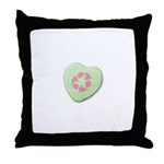 Candy Heart with Recycling Symbol Throw Pillow
