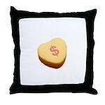 Dollar Symbol on a Candy Heart Throw Pillow