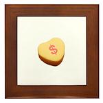 Dollar Symbol on a Candy Heart Framed Tile
