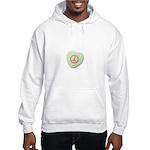 Peace Symbol on a Candy Heart Hooded Sweatshirt