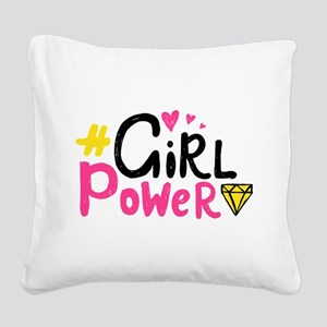 Girl Power Square Canvas Pillow