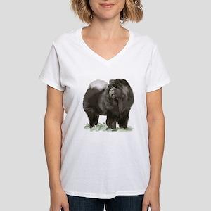 black chow portrait Women's V-Neck T-Shirt
