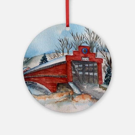 Covered Bridge Ornament (Round)