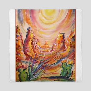 Colorful landscape, southwest art Queen Duvet