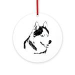 Siberian Husky Malamute Sled Dog Round Ornament