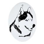 Siberian Husky Malamute Sled Dog Oval Ornament