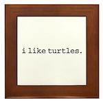 i like turtles. Framed Tile