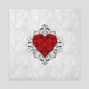 Red Heart-Black Lace-ptn Queen Duvet