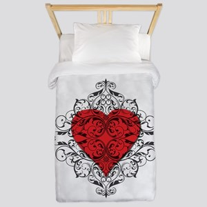 Red Heart-Black Lace-ptn Twin Duvet Cover