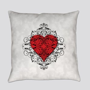Red Heart-Black Lace-ptn Everyday Pillow