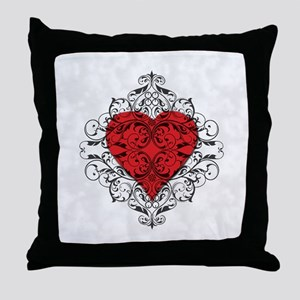 Red Heart-Black Lace-ptn Throw Pillow