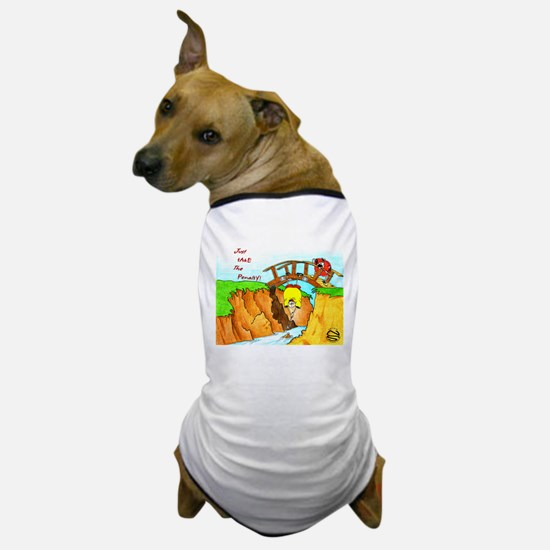 Golf-Hanging From Bridge Dog T-Shirt