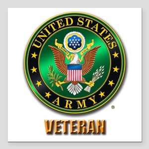 "U.S. ARMY VETERAN Square Car Magnet 3"" x 3"""