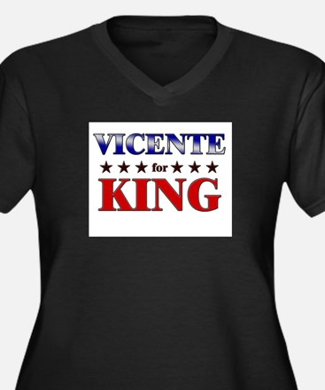 VICENTE for king Women's Plus Size V-Neck Dark T-S