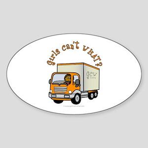 Dark Truck Driver Oval Sticker
