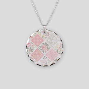 Patchwork Quilt Necklace Circle Charm