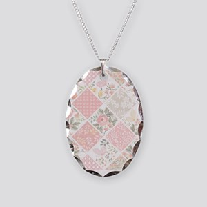 Patchwork Quilt Necklace Oval Charm