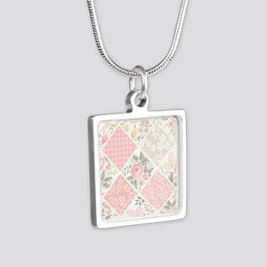 Patchwork Quilt Silver Square Necklace