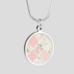 Patchwork Quilt Silver Round Necklace