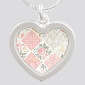 Patchwork Quilt Silver Heart Necklace