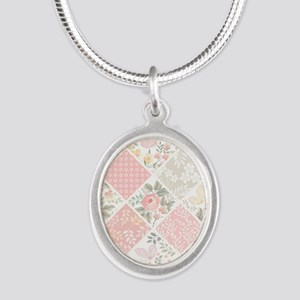 Patchwork Quilt Silver Oval Necklace