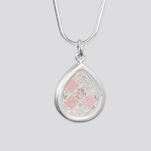 Patchwork Quilt Silver Teardrop Necklace