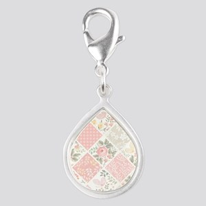 Patchwork Quilt Silver Teardrop Charm