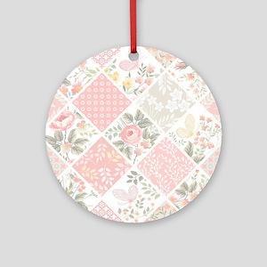 Patchwork Quilt Round Ornament