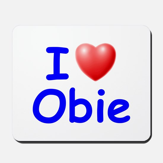I Love Obie (Blue) Mousepad