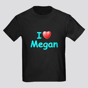 I Love Megan (Lt Blue) Kids Dark T-Shirt