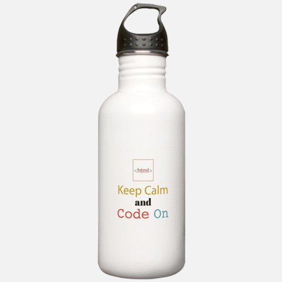 Keep Calm and Code On Water Bottle